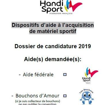 FF HANDISPORT / Aide à l'acquisition de matériel 2019